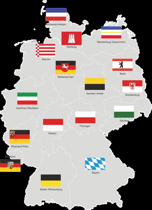 Vokietija,regionai,Meklenburgas,hamburgas,mecklenburg west pomerania,Bremen,žemutinė Saksonija,Saksonija-Anhaltas,brandenburg,Berlynas,Šiaurės Reinas,Vestfalija,Hesse,Turingijos federalinė žemė,Saksonija,Sachsen,Saarlandas,baden württemberg,bavarija,vėliava,Vokietijos žemėlapis,visos provincijos,juodas raudonas auksas,regionai vokiečiai,žemėlapis,nemokama vektorinė grafika
