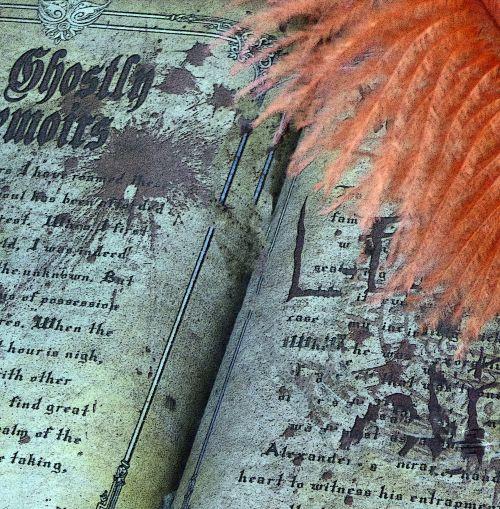 Halloween, knyga, vaiduoklis, vaiduoklis, rašymas, rašiklis, plunksna, oranžinė, apsėstas, baugus, autorius, nematomas, rašyti, šventė, atostogos, vaiduoklis
