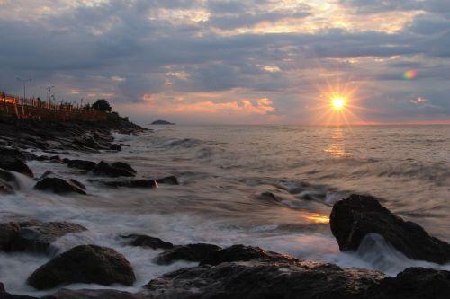 jūrų,papludimys,saulės energija,saulėlydis,debesys,Giresun,keşap,bulancak,Juodoji jūra,bangos,banga,mėlynas,Turkija,turia,debesis,putos