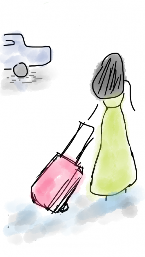 mergaitė,atgal šešėlis,kelionė,bagažas,lagaminas,automobilis,kelionė,atostogos,gyvenimo būdas,asmuo,moteris,Moteris,keliautojas,kelionė,suaugęs,turistinis,jaunas,turizmas,kelionė,lauke,turistinis,nuotykis,taksi,doodle,piešimas,eskizas