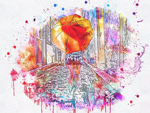 mergina, skėtis, menas, Anotacija, akvarelė, Vintage, spalvinga, meninis, tekstūros, Aquarelle, skaitmeninis dažai, skaitmeninis menas, dizainas, lietaus, kelių, Nemokama iliustracijos