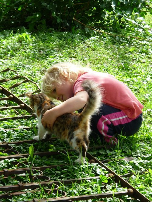 mergaitė,blondinė,katė,naminis gyvūnėlis,žaisti,gyvūnas,gyvenimas kartu,vaikas,insultas,šalies gyvenimas