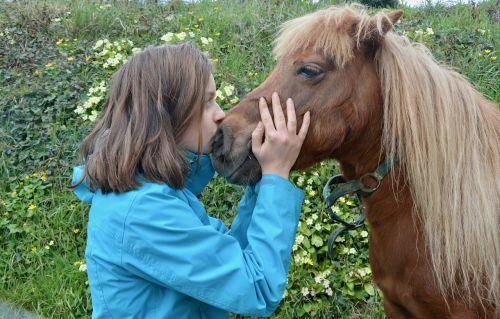 mergaitė shetland ponis, bučiniai ponis mergina, partnerystės mergina ponis, draugystes, meilė, Jodinėjimas arkliu, be honoraro mokesčio