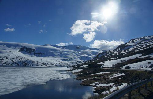 Ledinis Ežeras, Ledas, Sniegas, Norvegija, Mėlynas, Ledinis Vanduo
