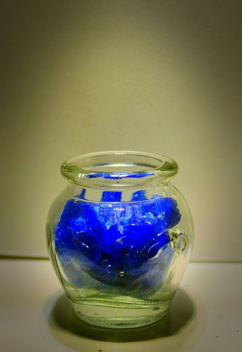 Butelis,  Stiklas,  Kristalai,  Druska,  Mėlynas,  Stiklinis Indas Ir Mėlyna Druska