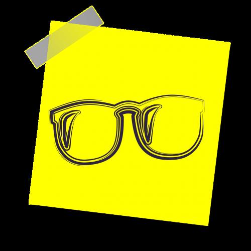akiniai,skaitymo akiniai,skaitymas,švietimas,akiniai,studentas,piktograma,geltona lipdukė,pastaba,rašyti pastabą