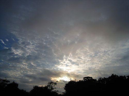 dangus, debesys, saulė, pakilimas, aušra, šviesa, šlovingą aušra