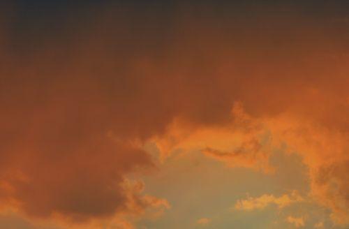 dangus, saulėlydis, debesis, švytėjimas, oranžinė, žibantis oranžinis debesis