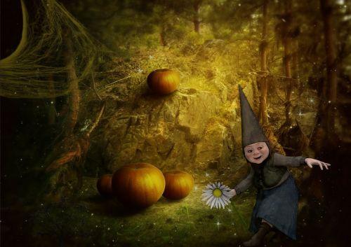 gnome,fantazija,miškas,jaunas,namas,tamsi,moliūgas,Halloween,pasaka,pasaka,istorija,mergaitė,vaikai,magija,portretas,pasaka,gamta,plaukai,žavus,mitas,Moteris,legenda,žalias,legendinis,mitinis,mediena,mažas