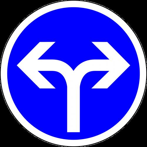 eik į kairę arba į dešinę,kairėje,teisingai,kryptis,ženklas,kelio ženklas,kelio ženklas,kelio zenklas,eismas,kelio ženklas,eismo ženklas,mėlynas,reguliavimo ženklas,nemokama vektorinė grafika