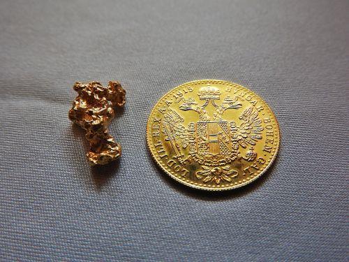 Golddukat, Auksinė moneta, auksas, nugget, aukso grynuolis, natūralus auksas