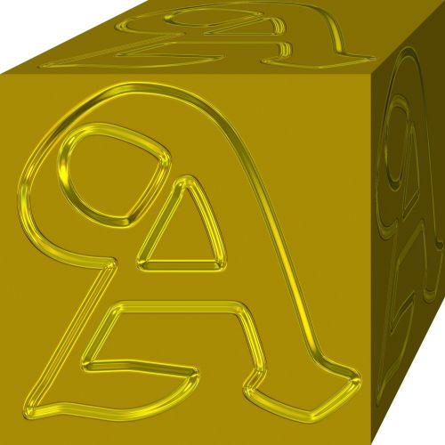 auksinis & nbsp, a, kubas, laiškas, auksas, simbolis, geltona, izoliuotas, auksinis a 2