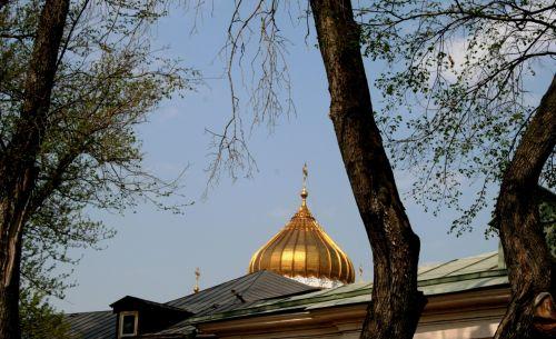 kupolas, auksinis, bažnyčia, religija, vienuolynas & nbsp, stogas, medis & nbsp, lagaminai, pavasario & nbsp, lapai, dangus, auksinis katedros kupolas