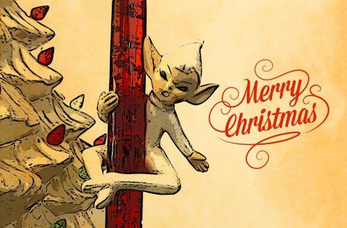 Kalėdos, xmas, Elfas, elfai, geltona, auksinis, pasveikinimas, sezoninis, aukso elfas