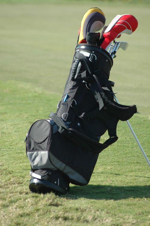 golfas, golfas & nbsp, krepšys, golfas & nbsp, klubai, įranga, Sportas, laisvalaikis, poilsis, tee, farvaterius, krepšelis, golfo krepšys su klubais