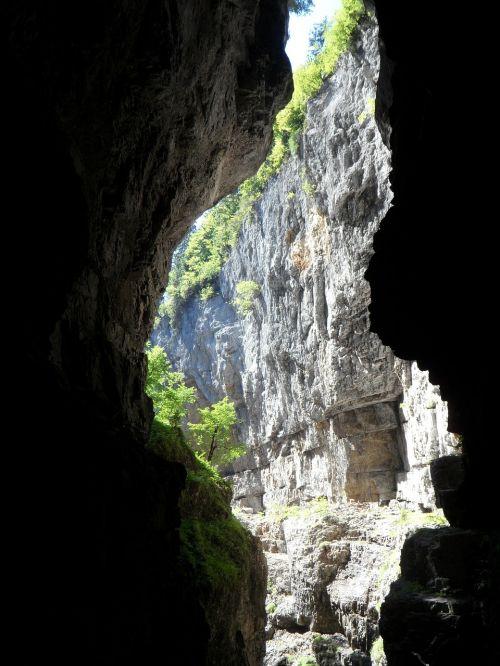Gorge,atidarymas,Rokas,Breitachklamm,kalnai,Alpių