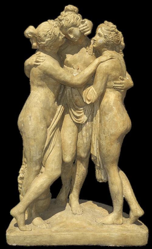 malonių, merginų grupė, skaičiai, Moteris, moterys, nuogas, skulptūra, figurengruppe, statula, akmens skaičiai, kūrinys, sodo puošmena, apdaila, išskiriamas, skaidrus