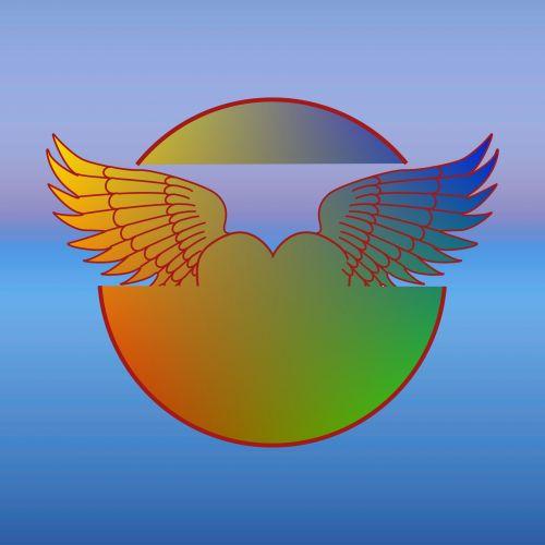 gradientas, sparnai, ratas, mėlynas, fonas, izoliuotas, gradiento sparnai