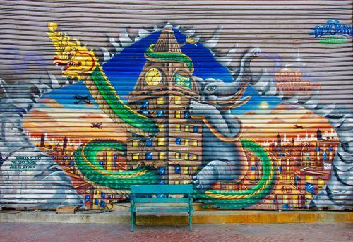 grafiti,bankas,siena,spalvinga,spalva,drakonai,dramblys,stendas,mediena,sėdynė,atsipalaiduoti,out,lazing aplink,medinis stendas