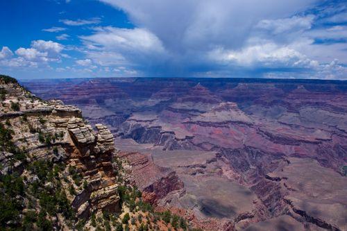 Arizona, kanjonas, uolos, Uždaryti, drąsus, Grand & nbsp, kanjonas, Grand & nbsp, kanjonas & nbsp, nacionalinis & nbsp, parkas, keliautojams, nacionalinis, nacionalinis & nbsp, parkas, panorama, parkas, debesys, miškas, Rokas, panika, svetaines, pietvakarius, didžioji kanjono pylimas