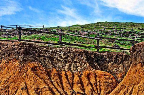 uolos, žolės, kraštovaizdis, tvoros, uolos, pavasaris, dažytos, meno, žoline uolos viršuje