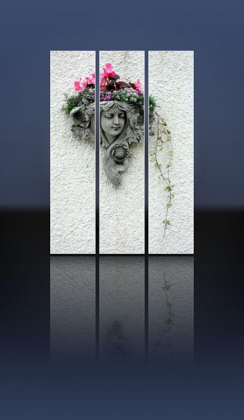 Kapo Akmuo, Kapo Akmuo, Mergaitė, Moteris, Galva, Akmuo, Dekoratyvinis, Gėlės, Siena, Veidas, Liejimas, Pilka, Apmąstymai, Tryptic