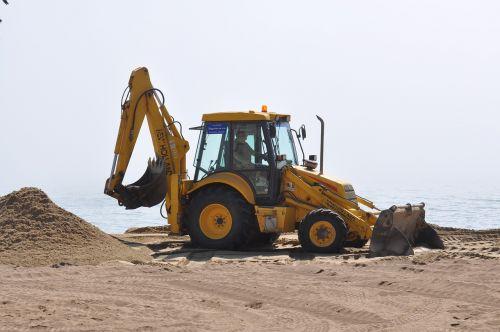 ekskavatorius,grävskopa,sandbox,smėlis,geltona,papludimys