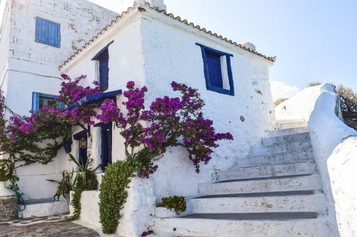 Graikija,skopelos,sala,graikų kalba,sporadai,Viduržemio jūros,aegean,Miestas,chora,namas,tradicinis,architektūra,balta,mėlynas,vasara,turizmas,laiptai