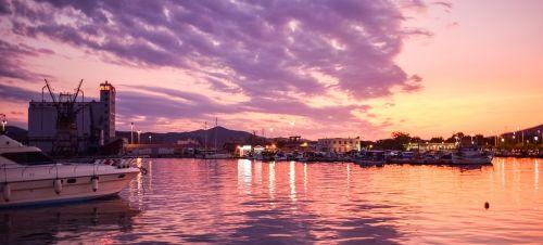 Graikija,volos,uostas,saulėlydis,dusk,spalvos,Miestas,žibintai,apmąstymai,dangus,jūra,debesys,vakaras
