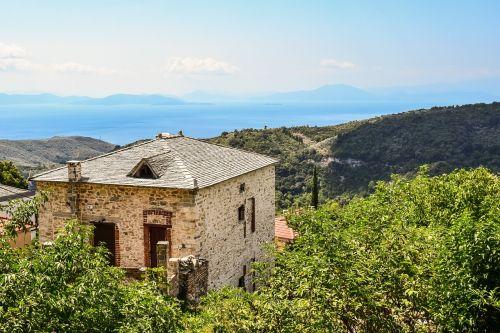 Graikija,Pelio,milies,kaimas,namas,architektūra,tradicinis,kaimas,kaimas,turizmas,kraštovaizdis,horizontas,vasara,rytas