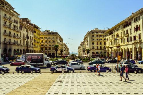 Graikija,Salonikai,miestas,kvadratas,aristotelio aikštė,miesto,pastatas,architektūra,centro,miesto panorama