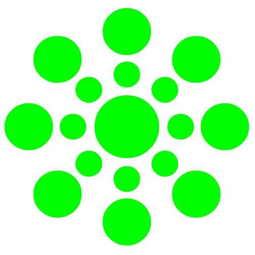 žalias, taškai, modelis, centras, rutulys, geometrinis, apdaila, dekoratyvinis, žalieji taškai
