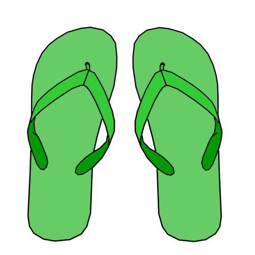 žalias, vasara, apversti, flops, sandalai, papludimys, avalynė, clip & nbsp, menas, iškarpų albumas, žalia šlepetės