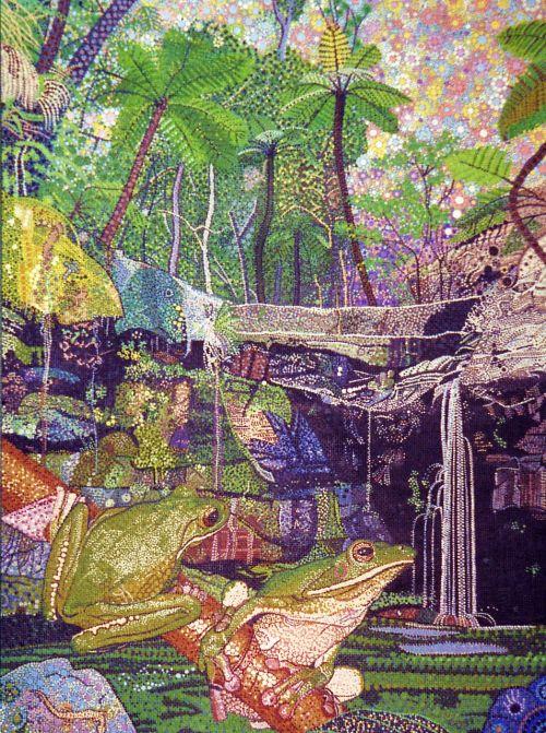 žalia varlė,Gorge,australian,dažymas,menas