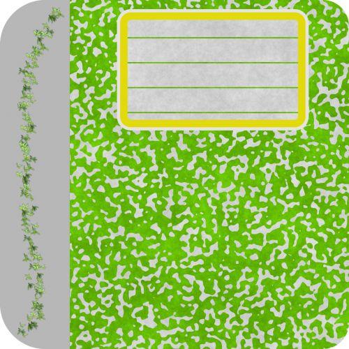 žalias, nešiojamojo kompiuterio, uždaryta, apdaila, lapai, tuščias, padengti, katalogas, tuščia, žalia nešiojamojo kompiuterio