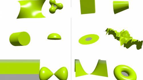 3d, žalias, primityvus, formos, formos, izoliuotas, balta, fonas, žalieji primityviai