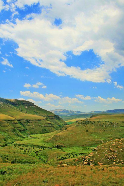 kalnai, Drakensbergas, auksiniai & nbsp, vartai & nbsp, nacionalinis & nbsp, parkas, Žaliasis slėnis