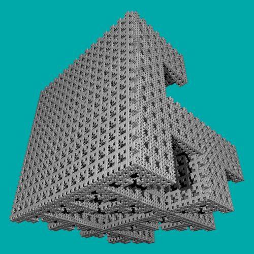 fraktalas, 3d, pilka, kubas, forma, geometrija, figūra, mėlynas, fonas, pilkas kubas