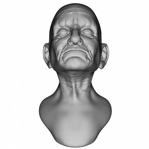3d, skulptūra, galva, pilka, senas, vyras, veidas, piktograma, izoliuotas, balta, fonas, avatar, pilkasis veidas