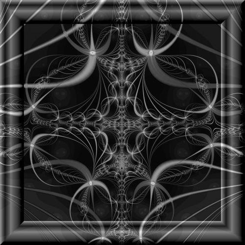 fraktalas, pilka, 3d, stiklas, rėmas, geometrinis, dizainas, pilkas fraktalas