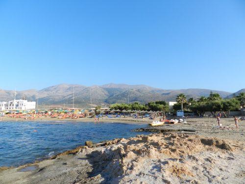 Graikija, heraklionas, papludimys, smėlis, jūra, akmenys, akmeninis, Krantas, atostogos, Graikija 4