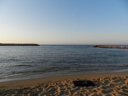 Graikija, heraklionas, rankšluostis, smėlis, jūra, saulėlydis, papludimys, vakaras, Krantas, šlapias, Graikija 5