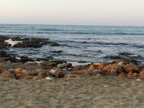 Graikija, heraklionas, Krantas, smiltainiai, Tamsi, ruda, saulėlydis, papludimys, akmeninis, vakaras, Graikija 7