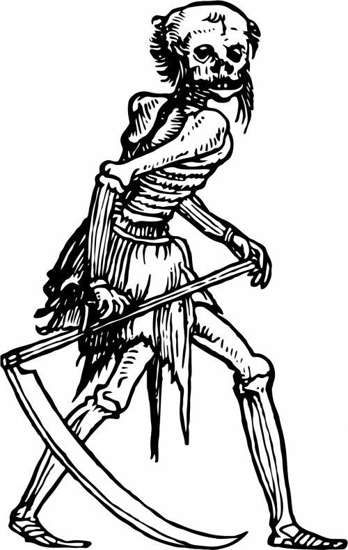 Iliustracijos, clip & nbsp, menas, grafika, iliustracija, juoda & nbsp, balta, vintage, viešasis & nbsp, domenas, piešimas, anatomija, Moteris, moterys & nbsp, anatomija, skeletas, mirtis, sunkus & nbsp, pjaunamojo, pjautuvas, giltinė
