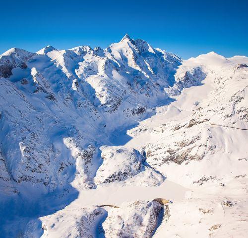 grossglockner, austria, austrų kalba, Alpių, aukštas tauernas, sniegas, kalnas, ledynas, Nacionalinis parkas, panorama, žiema, aukštas, šaltas, didingas, panoraminis vaizdas, kelionė, vaizdingas, kalnai, aukštas Alpių kelias, antena, oro vaizdas, Europa, be honoraro mokesčio
