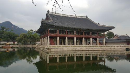 gyeongbok rūmai,rūmai fone,tvenkinys fone,gyeongbokgung rūmų vaizdas,rūmų nuotraukos