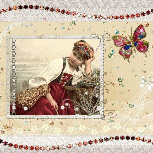 mergaitė, čigonai, valstietis, Moteris, gražus, scrapbooking & nbsp, puslapis, gėlių, drugelis, brangakmeniai, brangakmeniai, graži, Laisvas, Scrapbooking, viešasis & nbsp, domenas, čigonų mergina scrapbooking puslapis