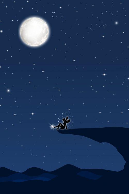 fėja, naktis, mėnulis, dangus, žvaigždės, kalnas, fėja