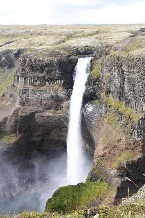 háifoss,krioklys,iceland,Gorge,gamta,kraštovaizdis