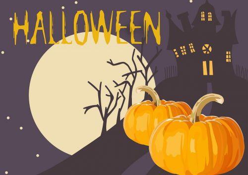 Halloween,naktis,baugus,moliūgas,mėnulis,pilis,tamsi,šventė,siaubas,ruduo,Spalio mėn,Halloween fonas,šventė,oranžinė,baisu,siluetas,vakarėlis,kortelė,baimė,reklama,laimingas Halloween,dangus